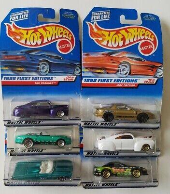 (6) 1998 First Editions Hot Wheels COLLECTOR Mustang Firebird Tail Dragger