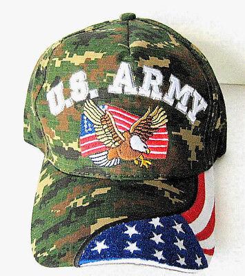 U.S. ARMY VETERAN Cap/Hat w/Eagle Flag DIGITAL EARTH CAMO**Free Shipping**