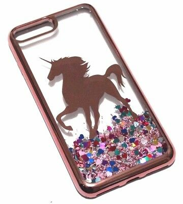 For iPhone 7+ / 8+ PLUS Rose Gold Unicorn Glitter Hearts Liquid Water Case Cover (Hearts Plus)