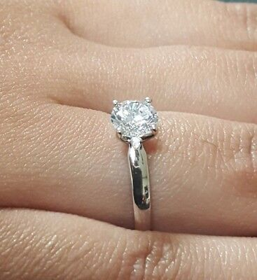 1 Brilliant Cut Diamond (1 CT Brilliant Cut Solitaire Diamond Engagement Ring Solid 14kt White Gold )