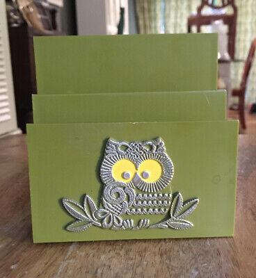 Owl Themed Green Desk Mail Organizer Cool Gift Strigiformes Letters Desktop