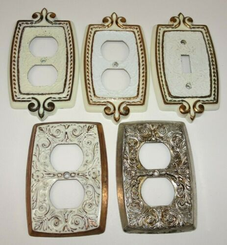 Lot 5 Vintage SA &Holton Switch Electric Outlet Covers Metal Brass Gold Enamel