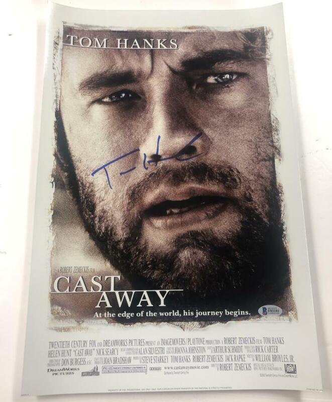 TOM HANKS SIGNED CAST AWAY 12X18 PHOTO AUTOGRAPH BECKETT COA