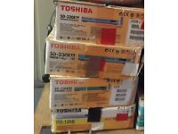 4 x used Toshiba DVD players, mains leads + remotes. NOT HDMI, scart and composite video and stereo