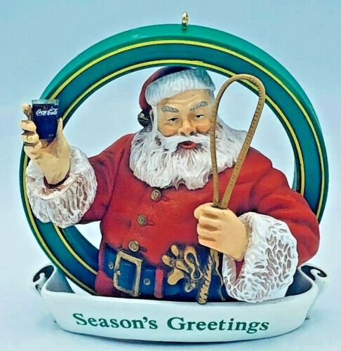 """1990 Coca Cola """"Santa In Ring Seasons Greetings"""" Trim A Tree Collection Ornament"""
