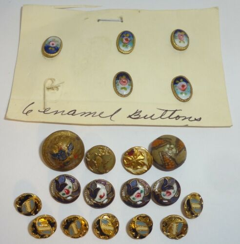 Lot of 20 Antique Metal & Enamel Buttons Diminutive Mostly