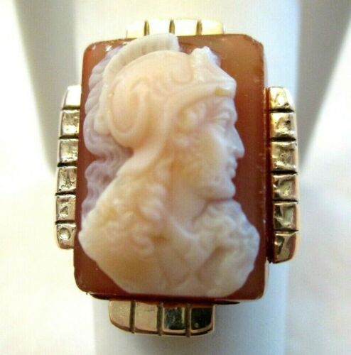INCREDIBLE 1870 Antique VICTORIAN Hardstone CAMEO & 14k Rose Gold RING