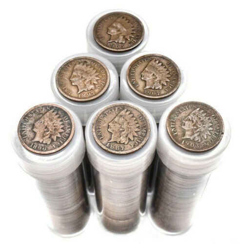 Entire Tube of Authentic Indian Head Pennies! Vintage Lot Estate Coin Sale Penny