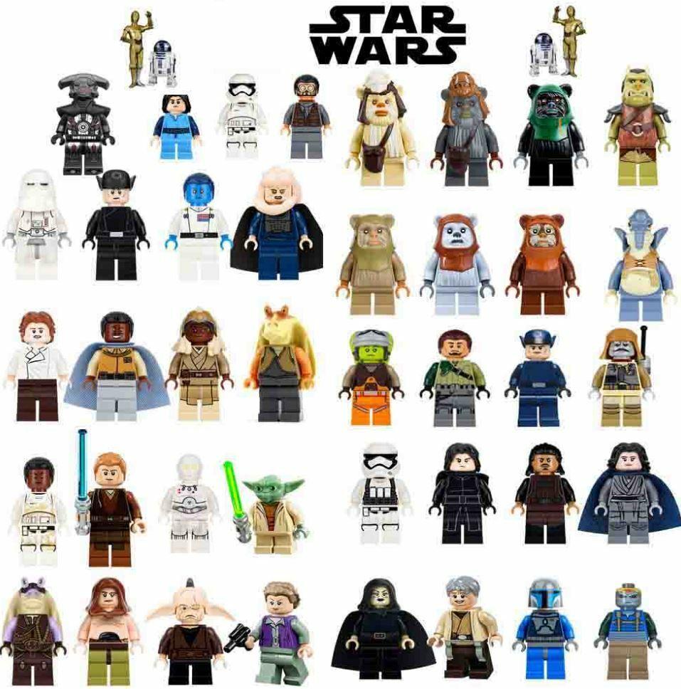 Lego Star Wars Minifigures Darth Vader Yoda Mandalorian Clone Boba Fett Luke