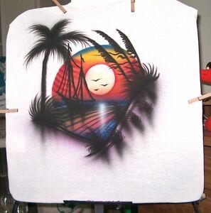 Airbrushed-T-shirt-SUNSET-CLIPPER-SHIP-S-M-L-XL-2X-3X