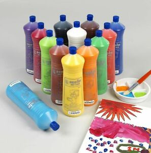 SCOLA-13-COLOURS-600ml-READY-MIX-POSTER-PAINT-ORANGE-RED-WHITE-GREEN-BLUE-BLACK