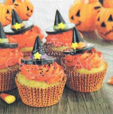 4 single paper decoupage napkins. Halloween, halloween cup cakes, pumpkin  - - Paper Cup Crafts Halloween