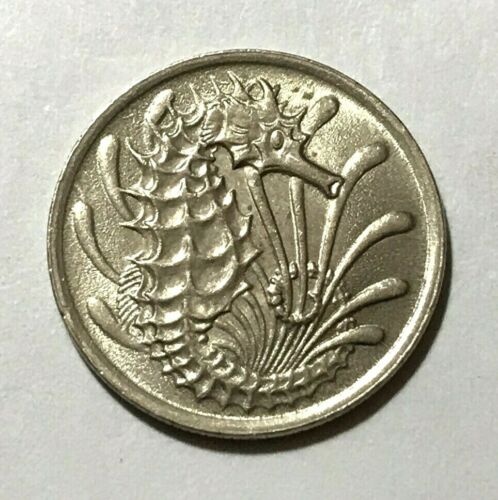 Singapore 10 cents, Seahorse, fish, animal wildlife coin