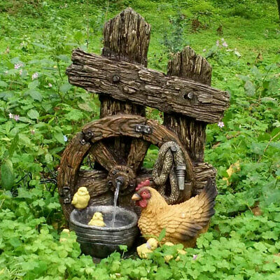 Exterior Area Spring Fountain Wood Chicks Wheel Decor Kaskade Terrace Water Game