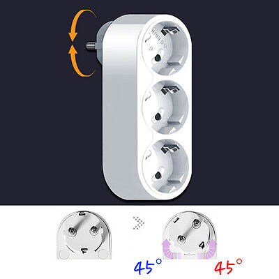 90 Degree Rotating Electrical Power Outlet Strip Plug Socket Adapter EU KOREAN