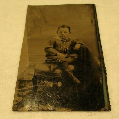 Nice Dress Up Clothes (Early Tintype Photograph-Young Boy in Full Dress Up-Very)