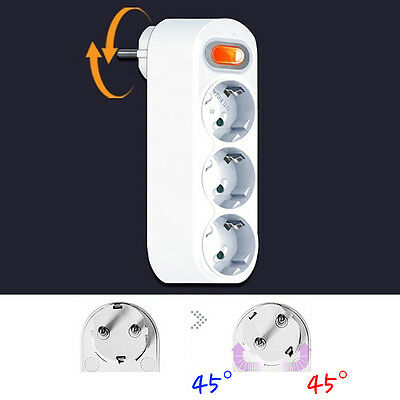 SWITCH - 90 Degree Rotating Electrical Power Outlet Strip Plug Socket Adapter EU