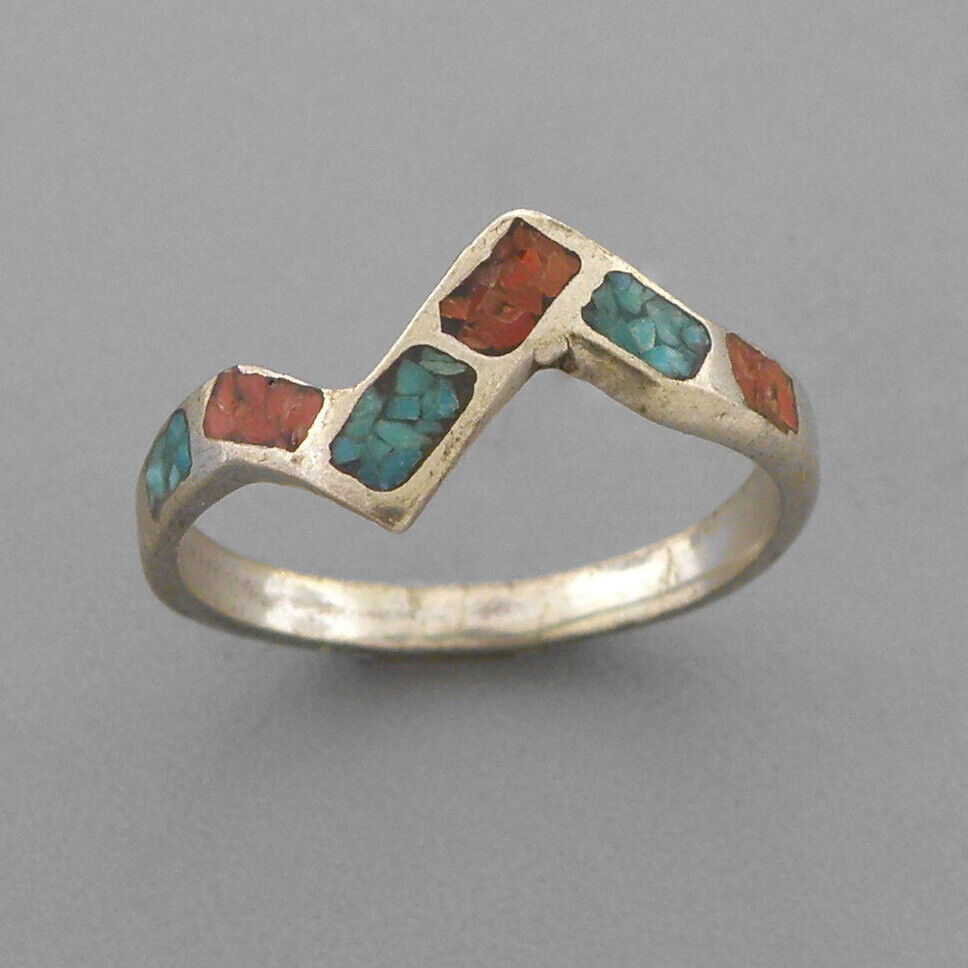 VINTAGE NAVAJO STERLING SILVER TURQUOISE CORAL INLAY STACK BAND RING SIZE 7.25 - $45.00