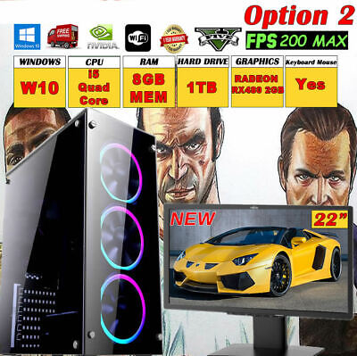 Computer Games - Quad Core  i5 Fast Gaming PC RADEON 480 4GB Monitor Bundle 8GB 1TB GTA5 Computer