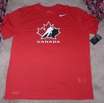NEW NIKE Team Canada Ice Hockey T Shirt Men L Large Red Maple Leaf Dri Fit NWT (Team Canada Hockey-t-shirt)
