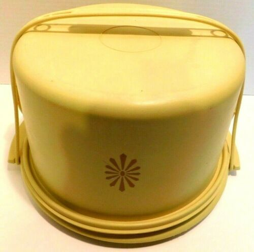Vintage Tupperware Harvest Gold Round Cake Carrier 684 & Handle NICE