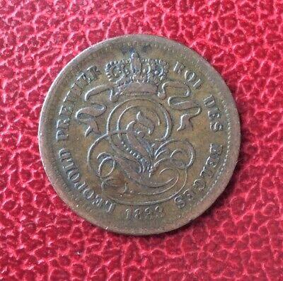 Belgique - Léopold Ier - Jolie Monnaie 2 Centimes 1833 Listel Large avec point