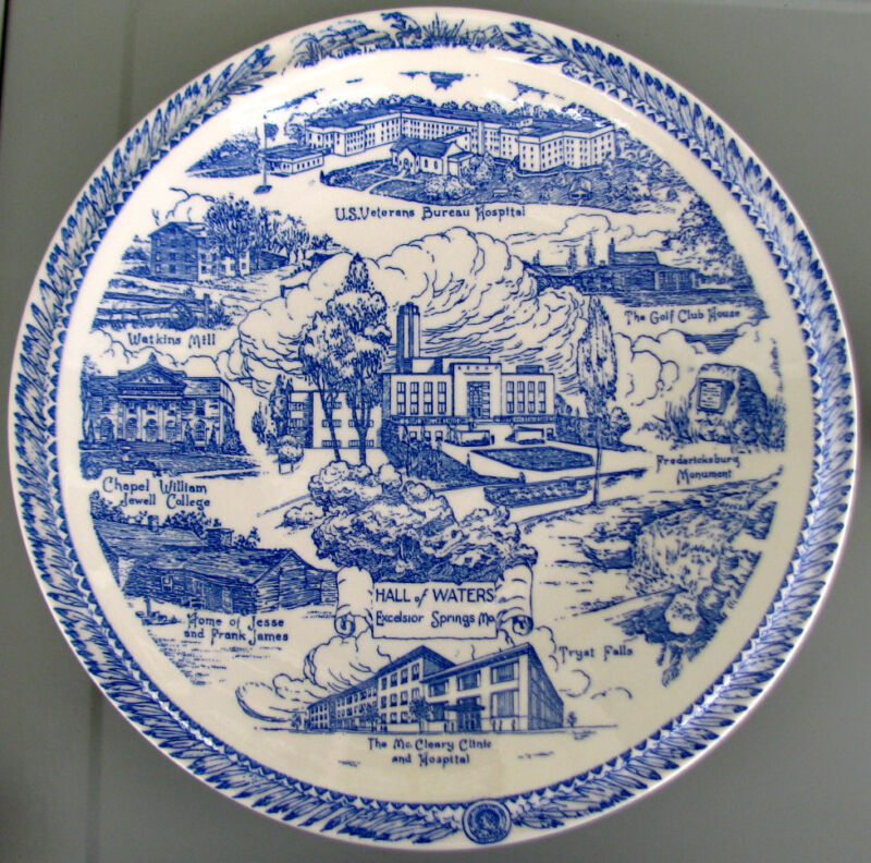 "EXCELSIOR SPRINGS Missouri ""Haven of Health"" Vernon Kilns Blue Collector Plate"