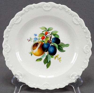 Meissen Hand Painted Fruit & Floral Molded Shell Luncheon Plate C. 1860 - 1924