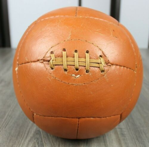 Antique 1940s Brown Leather Medicine Ball Laces Boxing Training 9.6 Lbs Vintage