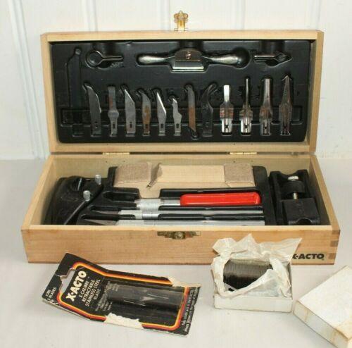g) Vintage X-ACTO Craft Tool Set in Original Wood Box