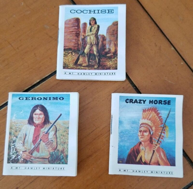(3) Vintage 1962 MT Hawley Miniature Books Fighting Indian Chiefs Geronimo