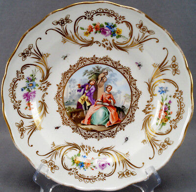 Meissen Hand Painted Courting Couple Floral & Gilt Scrolls Plate C. 1814 - 60 A