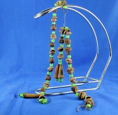 UNIQUE ANTIQUE PRIMITIVE CHRISTMAS GREEN GLASS BEAD ACORN GARLANDS AND STREAMERS