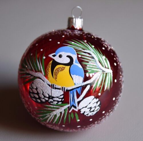 Red+Great+tit+Bird+on+pine+branch+glass+Christmas+tree+Bauble+8cm