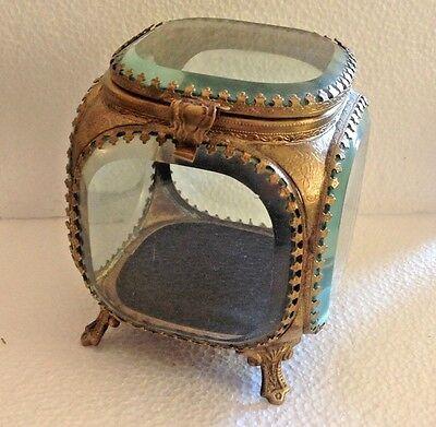 Antique Beveled Glass Ormolu Jewelry Trinket Box Casket 4.5 Inches Tall L@@K