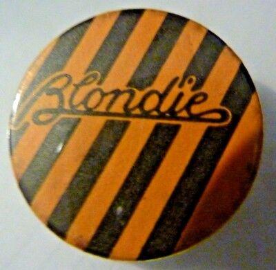 """BLONDIE, Vintage"""" 1970's -1980's Button/Badge 1 """"   ORANGE"""