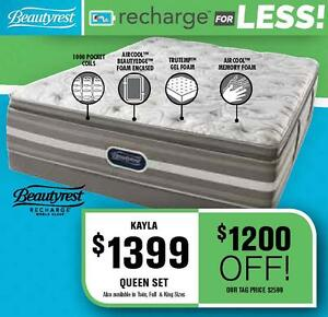 BeautyRest Recharge For LESS!! *$1200 OFF!* Queen Mattress (Kayla)  Check out our flyer @ www.mattressesforless.ca
