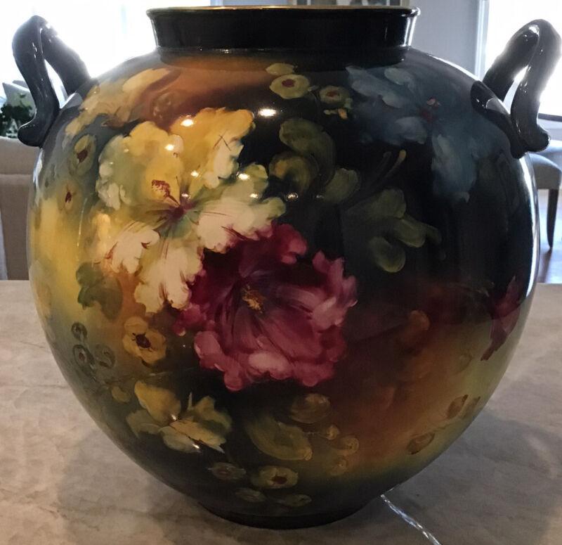 Antique Royal Bonn Germany Porcelain Handled Vase Eith Floral