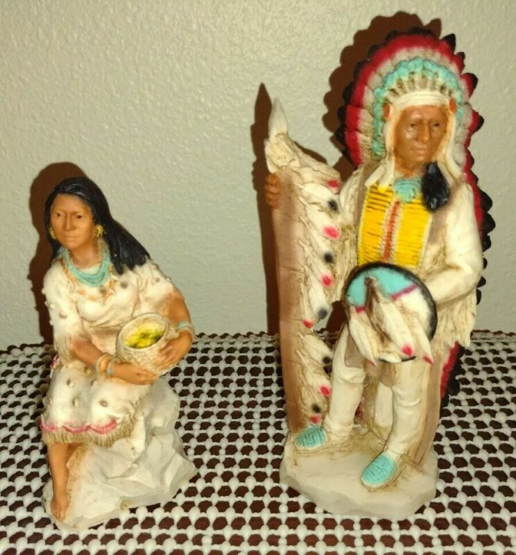 2 Vintage 1989 Rare Castagna Native American Indian Warrior Statue Red Cloud