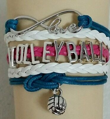 VOLLEYBALL LEATHER CHARM BRACELET - TEAL/PINK/WHITE ADJUSTABLE -SPORTS #181](Volleyball Charm Bracelet)
