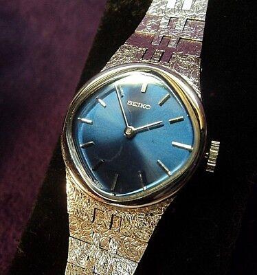 Seiko Gold Plated Bracelet - Serviced~1970s Seiko 11-8320~17J Japan Womens White Gold Plated bracelet  Watch