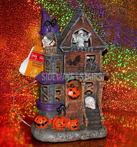 "LED HAUNTED HOUSE 10"" light up Halloween Decoration mummy skeleton spooky horror"