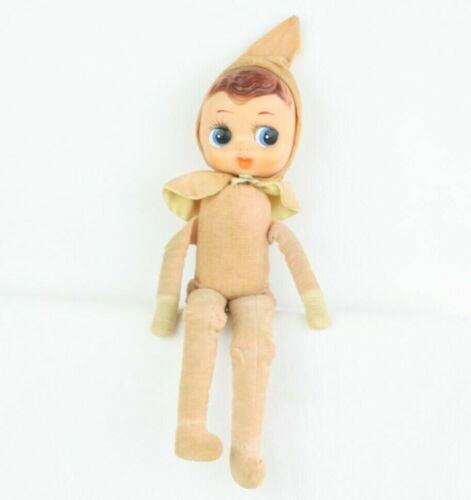 """Vtg Knee Hugger Peach Pixie Shelf Sitter Elf Doll Figure Big Eyes Rare Large 15"""""""