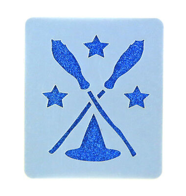 Witches Brooms Halloween Face Painting Stencil 7cm x 6cm Washable Reusable Mylar (Halloween Witch Facepainting)