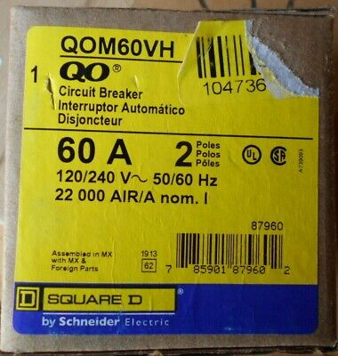 Square D Qom60vh 2 Pole 60 Amp 120240v Circuit Breaker 22ka New In Box