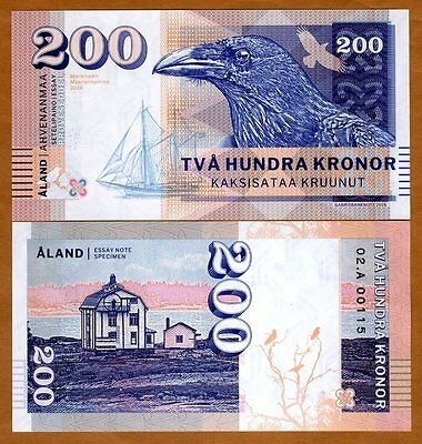 Aland Islands, 200 Kronor, 2016, Private Issue, Specimen, Essay UNC