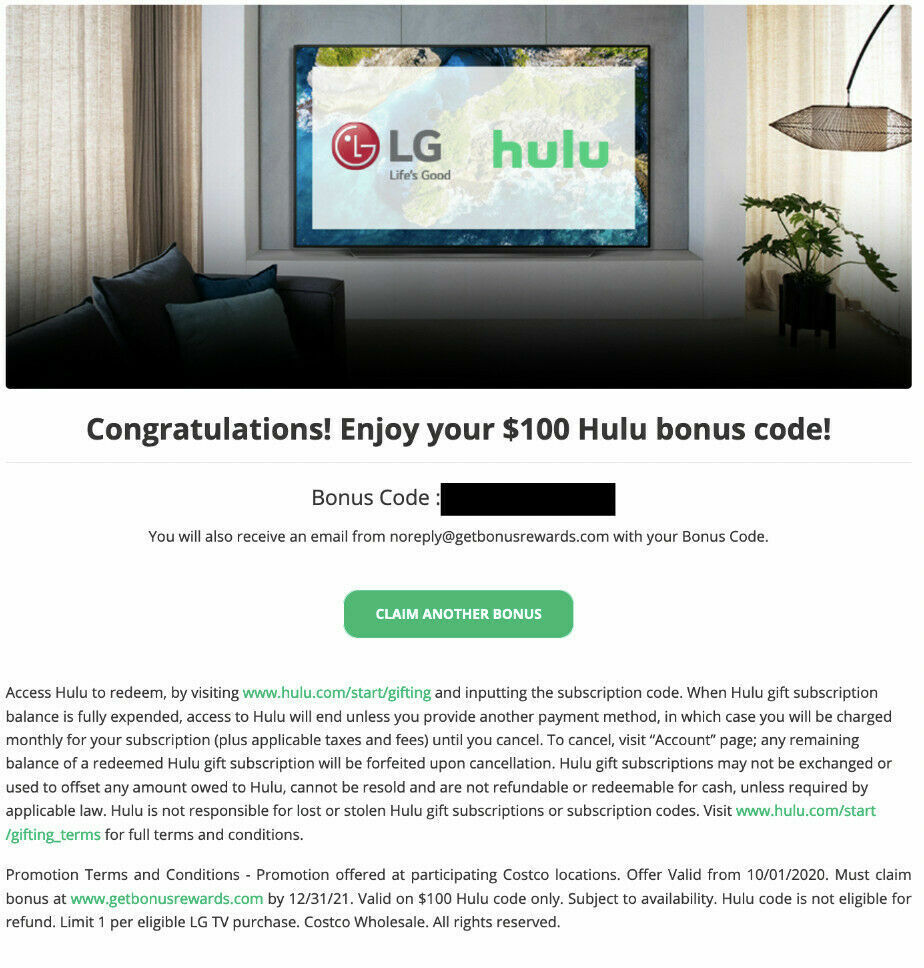 Hulu 100 Gift Card - $79.99