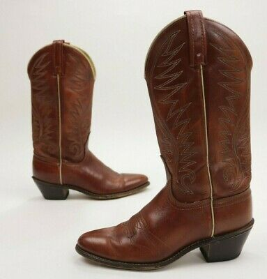 Vintage Acme Womens Boots Cowboy Western Rodeo Leather Brown USA Size 6.5
