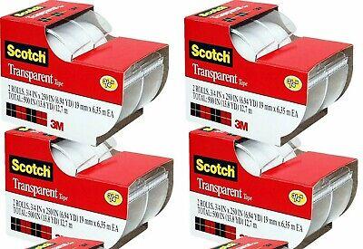 4 Packs - 3m Scotch Transparent Tape 2-ct. 250x.75-in Each Packs