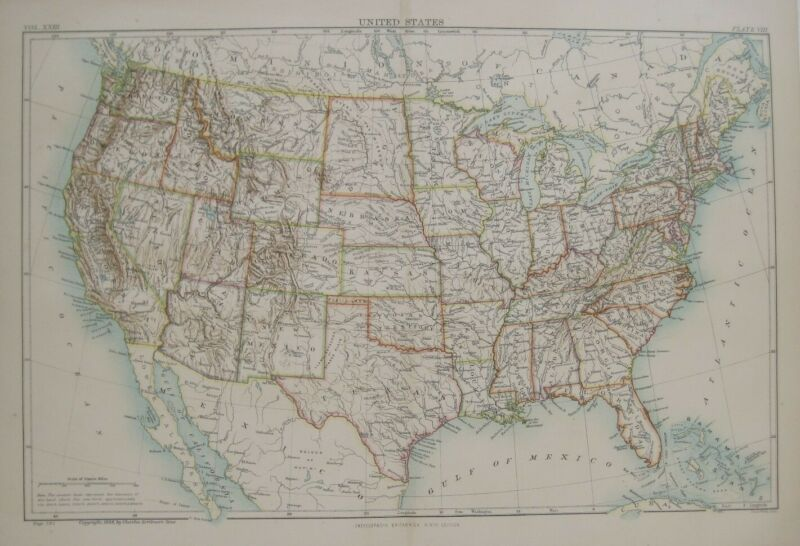 Original 1888 Jacob Wells Map UNITED STATES Topography Drainage Indian Territory